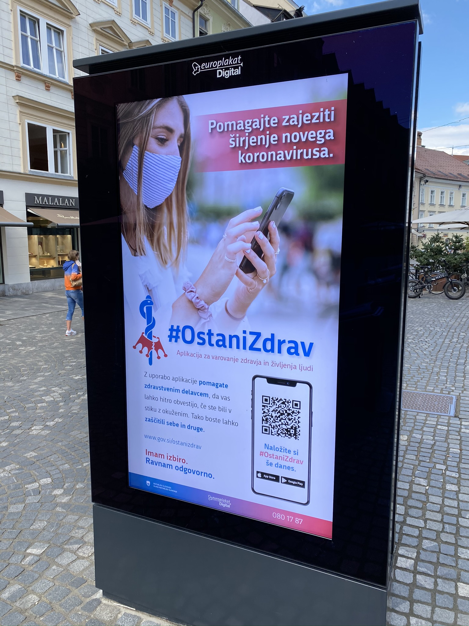 #OstaniZdrav Covid19 mobile application street display in Ljubljana. Photo: Aleksander Hribovšek, 3 September 2020.