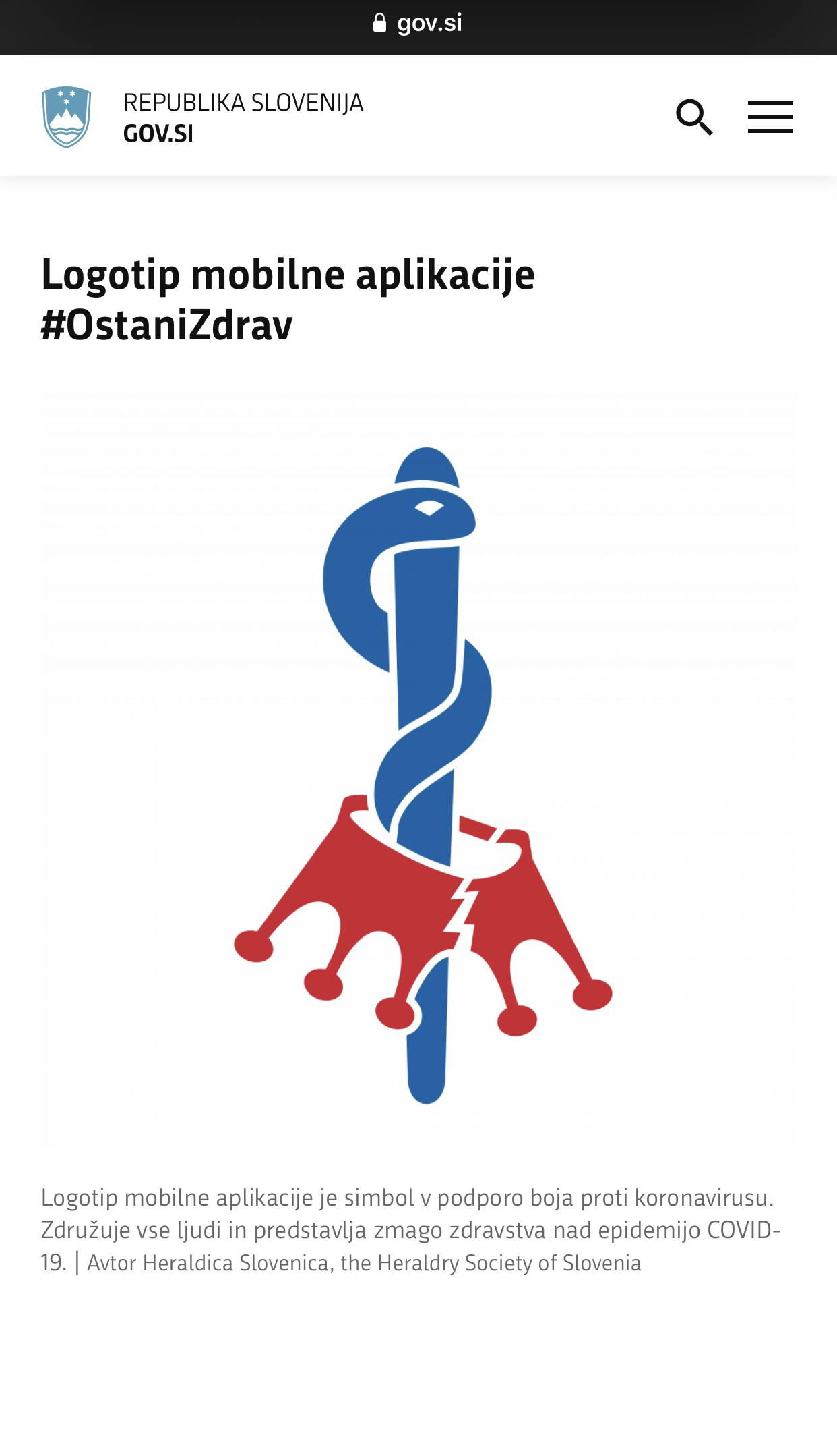 #OstaniZdrav Covid19 mobile application logo, August 2020.