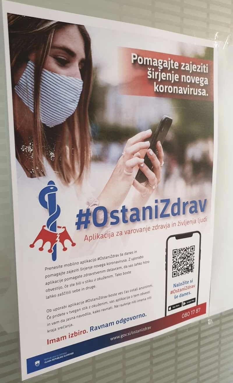 #OstaniZdrav Covid19 mobile application poster in Logatec, Slovenia. Photo: Anže Hobič, 28 August 2020.